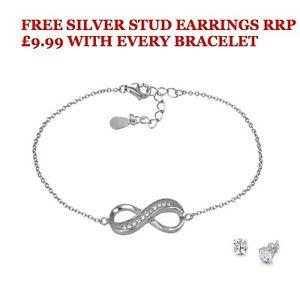 【送料無料】ブレスレット アクセサリ― スターリングシルバーブレスレットスタッドボルトsterling silver infinity bracelet with free studs rrp 999