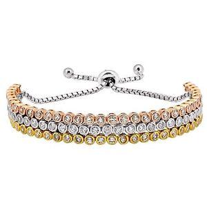 【送料無料】ブレスレット アクセサリ― スターリングシルバートリプルテニスブレスレットsterling silver adjustable triple tennis bracelet bmt