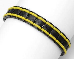 【送料無料】ブレスレット アクセサリ― ステンレスメンズブレスレットインチrochet yellow and surgical stainless steel mens bracelet 85 inch long yb50189
