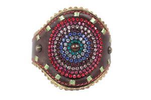 【送料無料】ブレスレット アクセサリ― ジュゼッペザノッティブラウンレザーカフブレスレットgiuseppe zanotti brown leather cuff bracelet w rhinestones