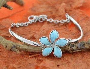 【送料無料】ブレスレット アクセサリ― プルメリアハワイlarimar flower braceletsterling silverfashion,plumeria,hawaiian,birthday gift