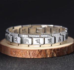 【送料無料】ブレスレット アクセサリ― 925スターリングmensブレスレットhuge heavy 925 sterling silver buddhist scriptures mens biker punk bracelet