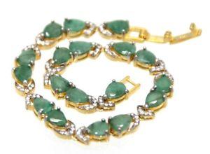 【送料無料】ブレスレット アクセサリ― ブレスレットエメラルドスターリングシルバーイエローホワイトゴールドメッキbracelet emerald amp; 925 sterling silver yellow amp; white gold plated 19,5 cm