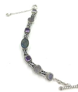 【送料無料】ブレスレット アクセサリ― ローリボンsterlingmulticolored stone bead braceletsize 712  912lori bonn sterling silver multicolored stone bead bracelet size