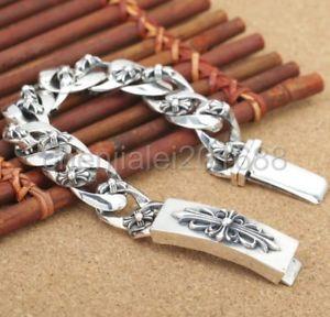 【送料無料】ブレスレット アクセサリ― スターリングシルバークロスフラワーチェーンメンズバイカーパンクブレスレット925 sterling silver cross flower chain mens biker punk bracelet