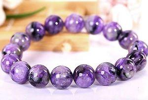 【送料無料】ブレスレット アクセサリ― ロシアラウンドビーズブレスレット12mm rare 4a natural russian charoite round beads bracelet gift bl2148