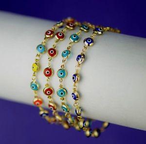 【送料無料】ブレスレット アクセサリ― イエローゴールドブレスレット14k yellow gold evil eye bracelet