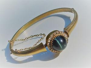 ブレスレット アクセサリ— t1912beautiful bracelet t old nineteenth silververmeil with cats eye and pearl 12