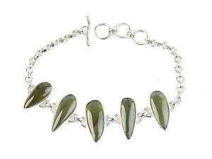 【送料無料】ブレスレット アクセサリ― カボションシルバーブレスレットmoldavite cabochons silver925 bracelet certificate 1624g certif080