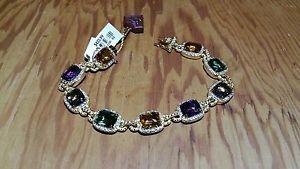 【送料無料】ブレスレット アクセサリ― ゴールドシルバーブレスレットクオーツオーストリア18k gold over silver bracelet with quartz amp; austrian crystals  beautiful amp;