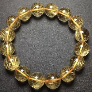 【送料無料】ブレスレット アクセサリ― ゴールドチタンルチルラウンドビーズブレスレットnatural gold titanium rutilated quartz crystal round beads bracelet 135mmaaa