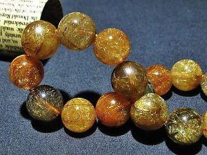 【送料無料】ブレスレット アクセサリ― ゴールデンルチルラウンドビーズブレスレット135mm rare 5a natural golden rutilated quartz round beads bracelet gift bl3829a