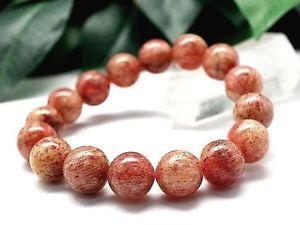 【送料無料】ブレスレット アクセサリ― ストロベリーラウンドブレスレット135mm rare 5a natural strawberry quartz crystal round bracelet gift bl5350