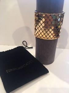【送料無料】ブレスレット アクセサリ― レベッカゴールドメッキメルローズイタリアカフブレスレットrebecca gold plated melrose gilded cuff bracelet made in italy worn once