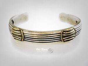 【送料無料】ブレスレット アクセサリ― グリルストライプモチーフソリッドスターリングシルバーカフブレスレットgrill stripes motif brass amp; solid sterling silver 925 cuff bracelet by ezi zino