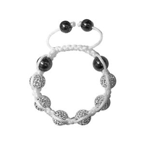 【送料無料】ブレスレット アクセサリ― パリブレスレットホワイトクリスタルマグネタイトvalence tresor paris bracelet white 10mm crystal amp; magnetite