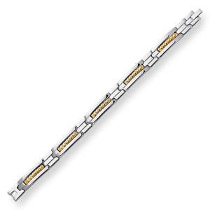 【送料無料】ブレスレット アクセサリ― ステンレススチールリンクメンズkゴールドブレスレットstainless steel link 107mm mens 18k gold 10mm bracelet 85