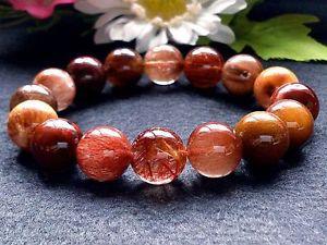 【送料無料】ブレスレット アクセサリ― レッドピンクゴールデンルチルラウンドブレスレット14mm rare 5a natural red pink golden rutilated quartz round bracelet gift bl205