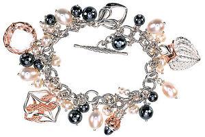 【送料無料】ブレスレット アクセサリ― アンキングスターリングシルバーkローズゴールドプレートブレスレットann king sterling silver amp; 18k rose gold plate 8 multi charms dangle bracelet