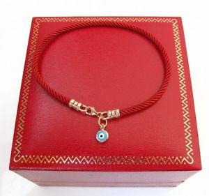 【送料無料】ブレスレット アクセサリ― 14kkabbalahタリスマンコード14k solid gold blue evil eye kabbalah talisman red silk cord bracelet luxurious
