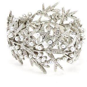 送料無料 ブレスレット アクセサリ― 590ドルオスカーデラレンタブレスレットシルバー590 oscar de la renta bamboo leaf bracelet silver crystals pearls