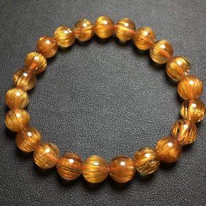 【送料無料】ブレスレット アクセサリ― ルチルラウンドビーズブレスレットnatural coppertitanium rutilated quartz crystal round beads bracelet 8mm aaa