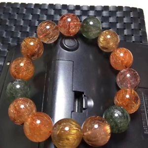 【送料無料】ブレスレット アクセサリ― ルチルroundブレスレット15mm aaanatural colorful rutilated quartz crystal round beads bracelet 15mm aaa