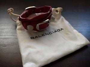 【送料無料】ブレスレット アクセサリ― シルバートーンブレスレットサイジングrare balenciaga silver tone amp; red leather bracelet adjustable sizing *