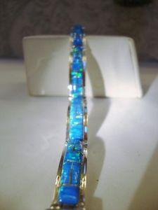 【送料無料】ブレスレット アクセサリ― ファイアーオパールblueブレスレット75 8スターリング925mlリンクblue with green glow fire opal linked bracelet 75 8 sterling silver 925 ml