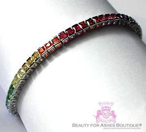 【送料無料】ブレスレット アクセサリ― スターリングシルバーテニスブレスレット8 sterling silver wh gold plated 925 gods promise rainbow cz tennis bracelet