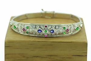 【送料無料】ブレスレット アクセサリ― ビザンチンブレスレットルビーエメラルドサファイア925スターリングギリシャartbyzantine braceletrubies,emeralds,sapphires925 sterling silver greek art