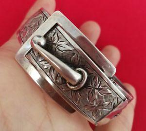【送料無料】ブレスレット アクセサリ― ブレスレットベルトソリッドシルバーold bracelet belt 19me century solid silver