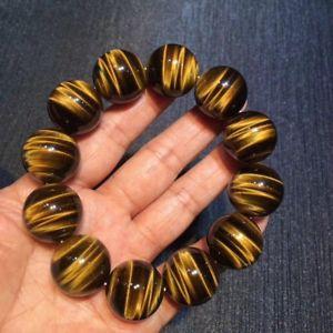 送料無料 ブレスレット アクセサリ― 35%OFF イエローゴールドタイガーアイラウンドビーズゴムブレスレットnatural yellow gold 発売モデル tigers eye bracelet 20mm beads elastic aaaa gemstone round