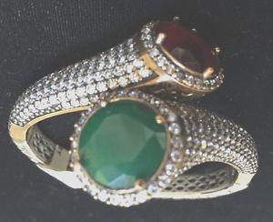 【送料無料】ブレスレット アクセサリ― ブレスレットエメラルドハンドセットルビーbracelet raw emerald amp; raw ruby with czs hand set stones