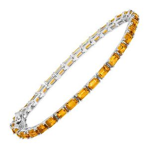 【送料無料】ブレスレット アクセサリ― シトリンスターリングシルバーテニスブレスレット5 78 ct natural citrine emeraldcut tennis bracelet in sterling silver