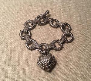 【送料無料】ブレスレット アクセサリ― ジュディスripkaスターリングエンハンサーczトグルブレスレットjudith ripka sterling silver heart enhancer cz citrine toggle charm bracelet