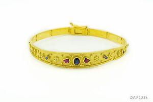 ブレスレット アクセサリ— 925スターリング22kビザンチンブレスレットルビーサファイアbyzantine bracelet rubies sapphires 925 sterling silver 22k gold plated