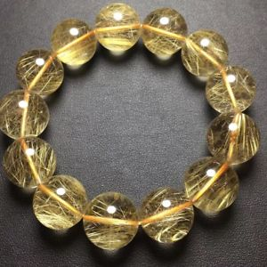 【送料無料】ブレスレット アクセサリ― ゴールドチタンルチルラウンドビーズブレスレットnatural gold titanium rutilated quartz crystal round beads bracelet 17mm aaa