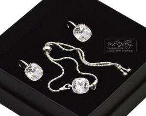 【送料無料】ブレスレット アクセサリ― スワロフスキーシルバーブレスレットセットクリスタルクリア925 silver adjustable braceletset 10mm crystalclear crystals from swarovski