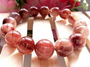 【送料無料】ブレスレット アクセサリ― レッドピンクゴールデンルチルラウンドブレスレット13mm rare 5a natural red pink golden rutilated quartz round bracelet gift bl930a