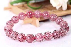 【送料無料】ブレスレット アクセサリ― ラウンドブレスレット105mm rare 6a natural pinkstrawberry quartz crystal round bracelet gift bl9677