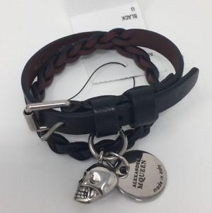 【送料無料】ブレスレット アクセサリ― alexander mcqueenレザーラップブレスレットbrand alexander mcqueen woven leather and silvertone wrap bracelet