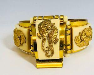【送料無料】ブレスレット アクセサリ― 1930ジャンパンルベタツノオトシゴアールデコベークライト1930s jean painlev seahorses entwined art deco bakelite bracelet and clip