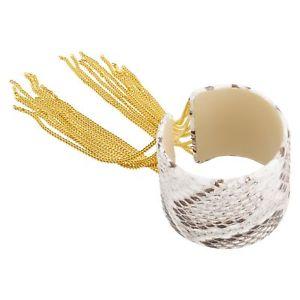 【送料無料】ブレスレット アクセサリ― サバティーニフリンジカフレザーkゴールドcristina sabatini fringe cuff, genuine tan python leather in 18k gold over brass