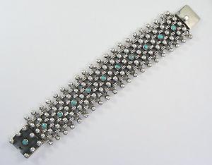 【送料無料】ブレスレット アクセサリ― スターリングシルバーターコイズブレスレットワイド925 sterling silver heavy woven bracelet with turquoise 1 12 wide