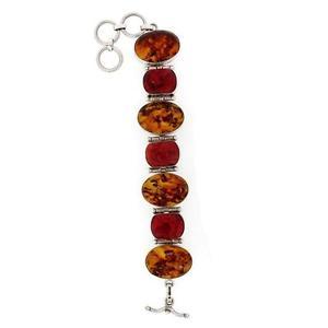 【送料無料】ブレスレット アクセサリ― ブレスレットスターリングシルバーlarge brown amber and red coral bracelet sterling silver 925 statement jewelry