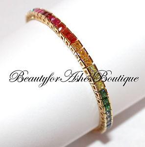 ブレスレット アクセサリ— 75 bfaスターリング925 gpczテニスブレスレット75 bfa sterling silver 925 gp gods promise over the rainbow cz tennis bracelet