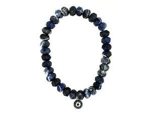 【送料無料】ブレスレット アクセサリ― ビードブレスレットsodalite bead evil eye bracelet