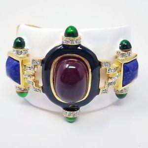 【送料無料】ブレスレット アクセサリ― ケネスジェイレーンルビーカボションカフブレスレットkenneth jay lane ruby cabochon white cuff bracelet