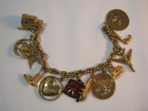 【送料無料】ブレスレット アクセサリ― ゴールドkゴールドヴィンテージブレスレットmasonic shrine gold filled vintage charm bracelet with 2 10k gold charms  t*